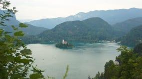 Het satellietbeeld van Meer tapte, Julian Alps en kerk op het Afgetapte eiland af, Slovenië royalty-vrije stock foto's