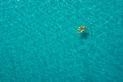 Het satellietbeeld van het slanke vrouw zwemmen op zwemt ringsdoughnut in het transparante turkooise overzees in Seychellen De zo royalty-vrije stock foto's