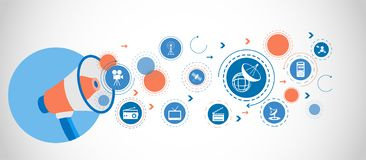 Het satellietpictogram van het Technologieconcept Gedetailleerde vastgestelde pictogrammen van Media elementenpictogram Het grafi royalty-vrije illustratie
