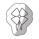 het satijn glanzend lint van het stickersilhouet met bandholding stock illustratie