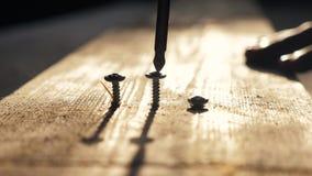 Het schaak stelt bischoppen voor de mens de arbeider haalt de schroef met een schroevedraaier aan De draai van de schroevenschroe stock video