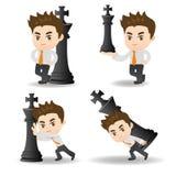Het schaak van de bedrijfsmensenduw royalty-vrije illustratie