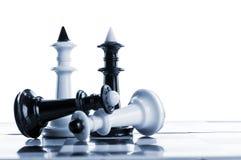 Het schaak van koninginnen en van koningen Stock Fotografie