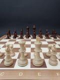 Het schaakbord met houten cijfers plaatste tegenover elkaar stock afbeeldingen
