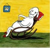 Het schaap drinkt thee stock illustratie