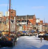 Het schaatsen in de haven Noorderhaven nederland Royalty-vrije Stock Afbeeldingen