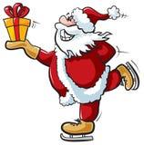 Het schaatsen Kerstman Stock Afbeeldingen