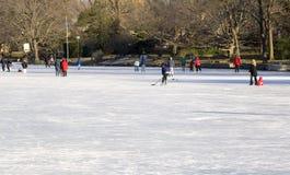 Het schaatsen op het Meer van het Dorp Stock Afbeeldingen
