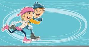 Het schaatsen op ijs royalty-vrije illustratie