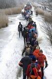 Het schaatsen op natuurlijk ijs in Nederland Stock Fotografie
