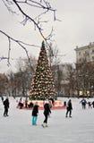Het schaatsen piste in Moskou Stock Afbeelding