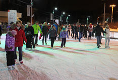 Het schaatsen Piste in VVC (vroegere HDNH) op Kerstmis en Nieuwjaar moskou Royalty-vrije Stock Afbeelding