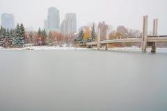Het Schaatsen van Calgary Piste de van de binnenstad Stock Foto's