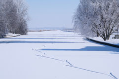 Het schaatsen van het ijs sporen Stock Fotografie