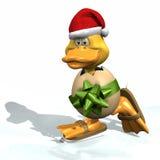 Het Schaatsen van Kerstmis Eend Royalty-vrije Stock Afbeeldingen