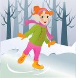 Het schaatsende meisje van het ijs. Stock Afbeelding