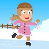 Het Schaatsende Meisje van het ijs in het Park Stock Afbeelding