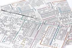 Het schema van de elektronika stock fotografie