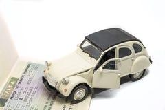 Het Schengenvisumconcept van Citroën 2CV Stock Afbeeldingen