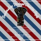 Het scheren van het pictogram van de materiaallijn in weinig borstel op herenkapperachtergrond Royalty-vrije Stock Fotografie