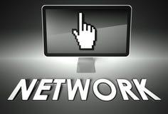 Het scherm en handpictogram met Netwerk, Internet Royalty-vrije Stock Afbeelding