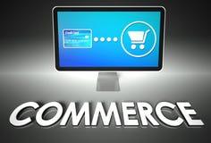 Het scherm en het kopen met woordHandel, Elektronische handel Royalty-vrije Stock Afbeeldingen