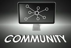 Het scherm en Internet-teken met Gemeenschap, Verbinding Royalty-vrije Stock Foto's
