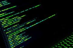 Het scherm met crypto muntcode, groene digitals Royalty-vrije Stock Foto's