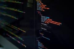 Het scherm met de codage van HTML en css op het vector illustratie