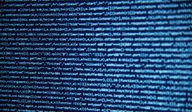 Het scherm met de code van de softwareontwikkelaar Stock Afbeelding