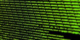 Het scherm met de code van de softwareontwikkelaar Stock Fotografie