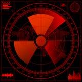 Het scherm van de radar met radioactief teken. Stock Afbeelding