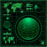 Het scherm van de radar met wereldkaart Royalty-vrije Stock Afbeeldingen
