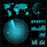 Het scherm van de radar met wereldkaart Stock Foto's