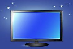 Het scherm van TV op de achtergrond van de nachthemel Royalty-vrije Stock Afbeelding