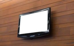 Het scherm van TV op muur Stock Foto