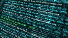 Het schermvertoning van blokketen netwerk en het conceptenachtergrond van de programmerings binaire code vector illustratie