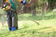 Het scherpe gras van de grasmaaimachinearbeider op groen gebied Royalty-vrije Stock Afbeelding