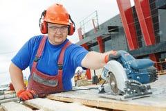 Het scherpe materiaal van de arbeidersbouwer Stock Afbeelding
