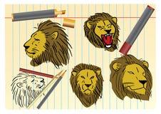 Het schetsen van de leeuw Stock Foto's