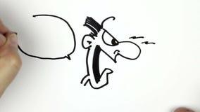 Het schetsen van een beeldverhaalkrabbel stock video