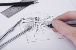 Het schetsen van hand Stock Foto's