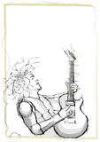 Het schetsen van het potlood van gitarist stock illustratie