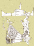 Het schetsen van Historische Architectuur in Italië Royalty-vrije Stock Foto