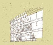 Het schetsen van Historische Architectuur in Italië Royalty-vrije Stock Fotografie