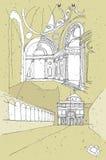 Het schetsen van Historische Architectuur in Italië Stock Foto's