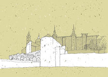 Het schetsen van Historische Architectuur in Italië Stock Fotografie