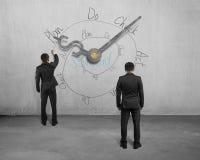 Het schetsen van PDCA-cyclus op muur met wijzers stock fotografie