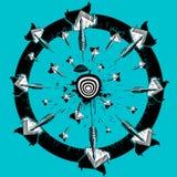 Het schetsen van pijltjes en het krijgen in het centrum van het doel Illustratie Royalty-vrije Stock Afbeelding