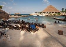 Het Schiereiland Mexico van Yucatan van het strand van Xcaret Stock Afbeeldingen